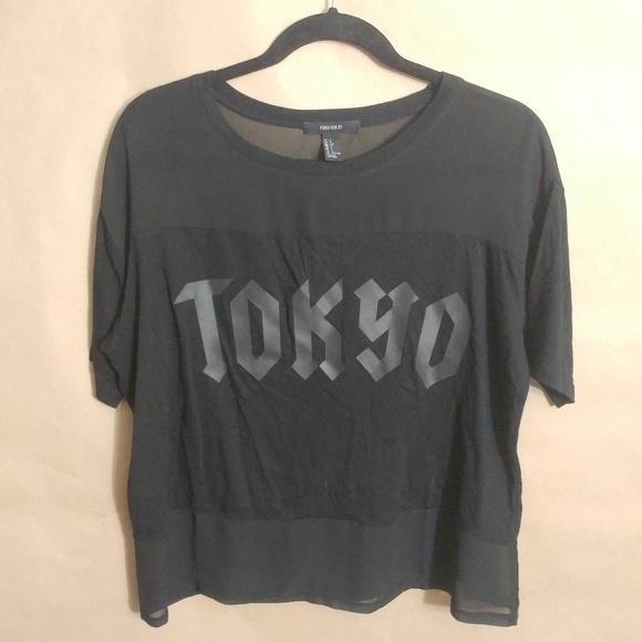 28ccbb2a5 Forever 21 Tops | Black Tokyo Sheer Black Strip Tee L | Poshmark